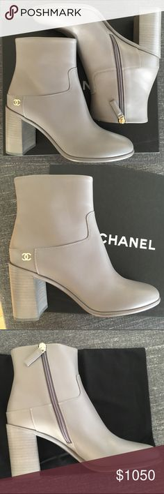 Chanel Calfskin Boots Brand new, never worn, grey boots. Come with dust bags and box. Fits small - I usually wear an 8.5/9 in shoes and these fit perfect. CHANEL Shoes Ankle Boots & Booties