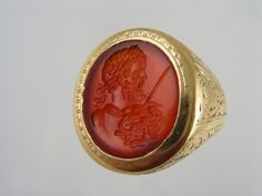 Early 19 nth century high carat gold ring set with a carnelian intaglio from second century A.D.depicting Septimius Severus (146 -211) a Roman general, and Roman Emperor from 193 to 211.