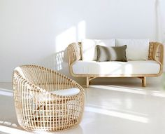 Rattan sofa & chair @Candace Renee Young-line #thingsmatter