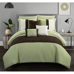 Chic Home Arza 10 Piece Color Block Quilted Comforter Set (Twin - 8 Piece), Green (Microfiber, Applique) Twin Comforter Sets, King Comforter, Bedding Sets, Elegant Comforter Sets, King Pillows, Pillow Shams, Throw Pillows, Accent Pillows, Bed In A Bag