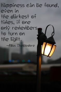 Happiness can be found even in the darkest of times, if one only remembers to turn on the light. -Albus Dumbledore