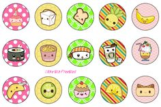 Cute Kawaii bottlecap images wow I love these I think I might have to make these into pins?