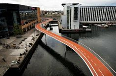 """The Bicycle Snake (Cykelslangen) is Copenhagen's newest addition to create the world's best city for cyclists by 2015"" text via http://www.stateofgreen.com/en/Newsroom/Copenhagen%E2%80%99s-New-Bicycle-Bridge"
