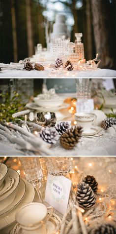 pine cones! This could be a great Christmas idea!!! I love it with the random glass pieces and fairy lights