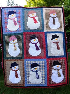 Cozy Snowman Quilt approx 41 inches by 40 inches by Threadbender64