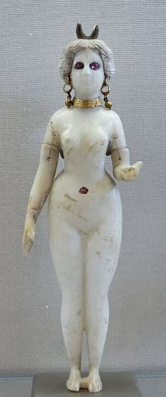 Alabaster, gold, terracotta Statuette of a Woman adorned with earrings and rubies. 2nd C. BCE - AD. Hillah  Necropolis. Great Goddess of Babylon Venus perhaps?