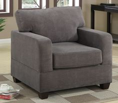 Waffle Suede Arm Chair Charcoal