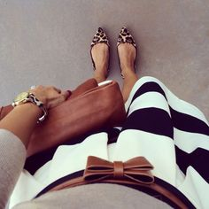Leopard flats and striped skirt - my favorite part is the belt