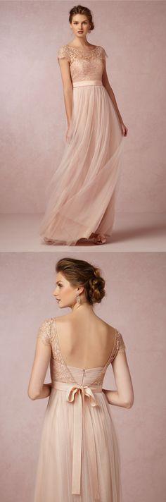 Vintage Bateau Neck Illusion Cap Sleeved Lace Blush Tulle Bridesmaid Dress