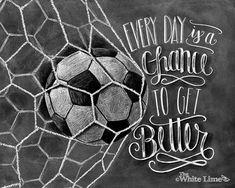 Voetbal kunst Soccer Decor inspirerende citaat door TheWhiteLime