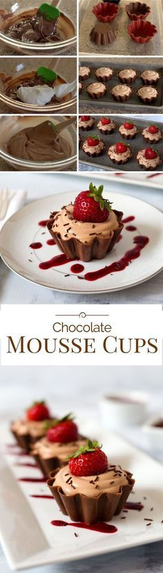 A pretty ruffled chocolate cup filled with a rich creamy milk chocolate mousse topped with a fresh sweet strawberry real chocolate sprinkles and served with a berry coulis.