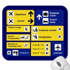 Airport Signs Mouse Pads