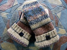 Felted Wool Mittens Black & Brown Made From by GrandmaLindasHouse