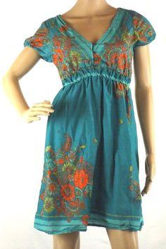 Maurices Sz S Summer Dress Blue w/ Floral Print V-Neck Cap Sleeve Elastic Waist  #Maurices #Sundress #Casual