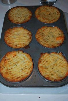 Single Serving Mashed Potatoes baked in muffin tins. Optional, sour cream, Bacon, Chives, Butter or Margarine! Bake until Browned and heated through. Healthier portion control? Smaller Muffin Tins.