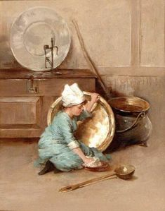 Polishing Brass by Marie Seymour Lucas (1855 – 1921, English)