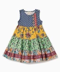 Matilda jane clothing blue patchwork wild heart sleeveless dress - toddler & gir... Baby Girl Dress Patterns, Baby Dress Design, Baby Clothes Patterns, Frock Design, Children's Dress Patterns, Baby Girl Frocks, Frocks For Girls, Toddler Girl Dresses, Little Girl Dresses