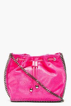 STELLA MCCARTNEY Pink chain-trimmed shaggy deer bucket bag