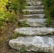 "stone steps. This reminds me of a stone wall with benches and bridges over the creek at my great grandmothers house - loved playing there it was my own ""secret garden"" and place to dream want this in my own yard some day!"