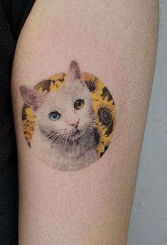 These Awesome Cat Tattoos Will Take Your Cat Obsession to The Next Level - super cute cat tattoo ideas © tattoo artist ziho Rose Tattoos, Leg Tattoos, Arm Tattoo, Body Art Tattoos, Sleeve Tattoos, Girl Tattoos, Skull Tattoos, Tattoo Finger, Flower Tattoos
