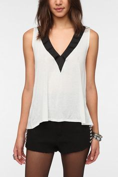Daydreamer LA Deep-V Neck Tux Tank Top  #UrbanOutfitters