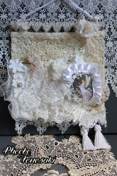Fabric and lace wall hanging remade with 100yen wall hanging