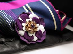 """Mag TAK """"Chick Magnet"""" Handmade layered purple leather flower a copper and gem center. Upcycled.with silk covered magnetic button back. Design by Xavier. ModernRenaissanceMan, $29.00"""