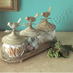 French Country Aviary Jars Canister Set Bath Accessory Bathroom Accent New | eBay