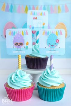 Free printable Eggs & Jellybeans square cupcake toppers
