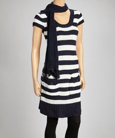 Take a look at this Navy & Cream Stripe Sweater Dress & Scarf by Papillon Imports on #zulily today!