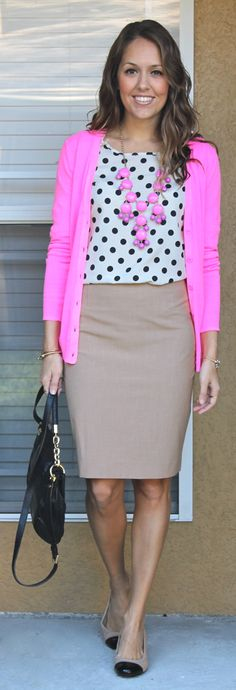 I'm inspired by the polka dots and the khaki...I will have to put my own spin on this though!