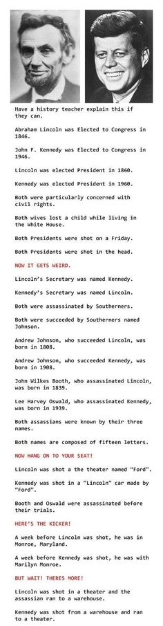 Abraham Lincoln John F. Kennedy Weird Facts   Dummies of the Year has the best funny pics, gifs, videos, movie, cosplay, sport, food, memes, cute, fail photos on the internet!