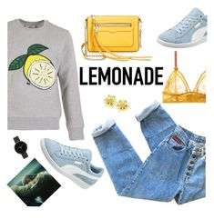 """LEMONADE"" by freddarling ❤ liked on Polyvore featuring Kate Spade, AMI, STELLA McCARTNEY, Puma, Rebecca Minkoff, I Love Ugly, yellow, denim, Sweater and puma"