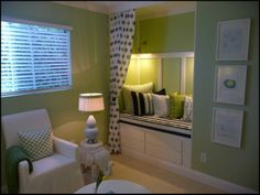 I could use a little reading nook like this...only with a soundproof curtain to keep the noise out!