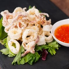 Thai fried squid makes a fantastic appetizer dipped in Thai sweet chili sauce.