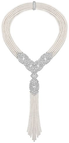 """""""Signature De Perles"""" #Necklace from #SignatureDeChanel - #Chanel - #FineJewelry collection in 18K white gold set with 3.4 carat #EmeraldCut - #Diamond, 717 #BrilliantCut - #Diamonds (total weight 38.22 cts) and Japanese cultured #Pearls - January 2016"""