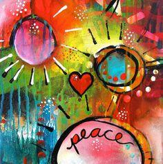 Rainbow Acrylic Painting Inspirational Art OOAK by firemanbell