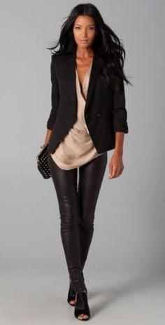Helmut Lang Rolled Sleeve Blazer and leather pants #Black #White