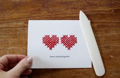 DIY Hearts Stitched Together Handmade Valentines — download the template and stitch!