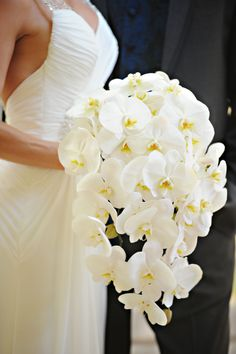 Cascading White Cymbidium Orchid Bouquet is part of Orchid bouquet - White Orchid Bouquet, Orchid Bridal Bouquets, Summer Wedding Bouquets, White Orchids, Flower Bouquet Wedding, Rose Bouquet, Orchid Centerpieces, White Orchid Centerpiece, Church Wedding Flowers