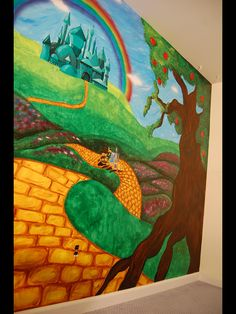Wizard of oz themed mural by caras creations for a child's nursery. Look at the other examples of my children murals! Contact me if interested. I use acrylic paint on walls to create murals