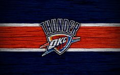 Download wallpapers 4k, Oklahoma City Thunder, NBA, wooden texture, basketball, Western Conference, USA, emblem, basketball club, Oklahoma City Thunder logo