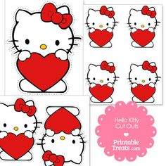 Free Cut Outs of Hello Kitty Holding a Red Heart from PrintableTreats.com