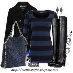 Midnight- blue/black striped long sleeve dress, black jacket and black boots