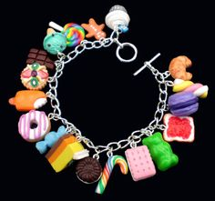 MultiColoured Loaded Kawaii Food Charm Bracelet by KooKeeJewellery, $29.99