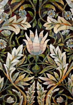 Panels of mosaic with floral ornaments. I like the black opaque background. Mosaic Tile Art, Mosaic Artwork, Mosaic Crafts, Mosaic Projects, Mosaic Glass, Glass Art, Art Projects, Stained Glass, Mosaic Designs