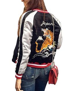 Women's Quilted Lightweight Jackets - Simplee Apparel Womens Tiger Embroidery Reversible Bomber Flight Jacket Black * Read more at the image link.