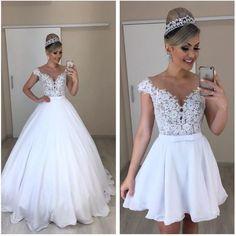 Amazing white prom dress with top lace long/short prom dress - Schöne ballkleider - brautkleid Cheap Bridal Dresses, Top Wedding Dresses, Wedding Dress Trends, Bridal Gowns, 2 In 1 Wedding Dress, Red Wedding, Convertible Wedding Dresses, Gothic Wedding, Gown Wedding