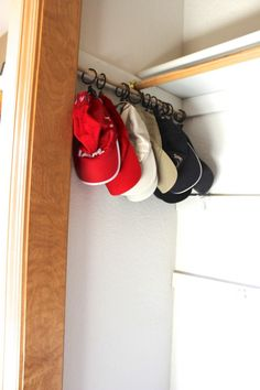 Finally, a way to store and organize our baseball caps! Neat, organized and doesn't take up tons of room!