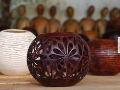 candle holder carved coconut shell handmade in Bali Indonesia $15